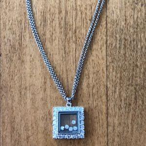 Silver necklace, Cubic Zirconia pendant ❤️